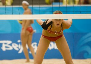 US vs Japan in women's beach volleyball in Beiing