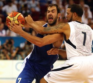 Olympic men's basketball preliminary game between USA and Greece in Beijing